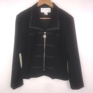 GIORGIO FIORLINI V-Neck Zip Front Black Jacket